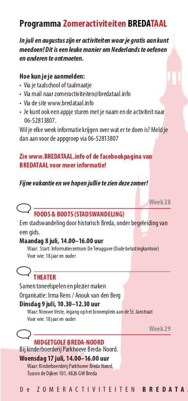 Zomeractiviteiten van BredaTaal